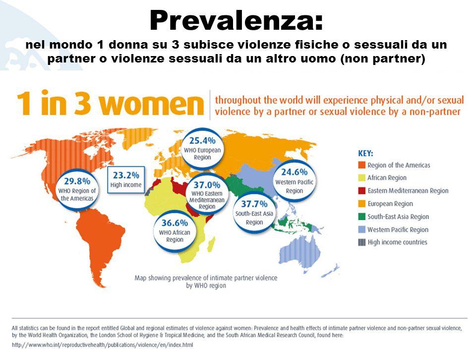 Prevalenza: nel mondo 1 donna su 3 subisce violenze fisiche o sessuali da un partner o violenze sessuali da un altro uomo (non partner)