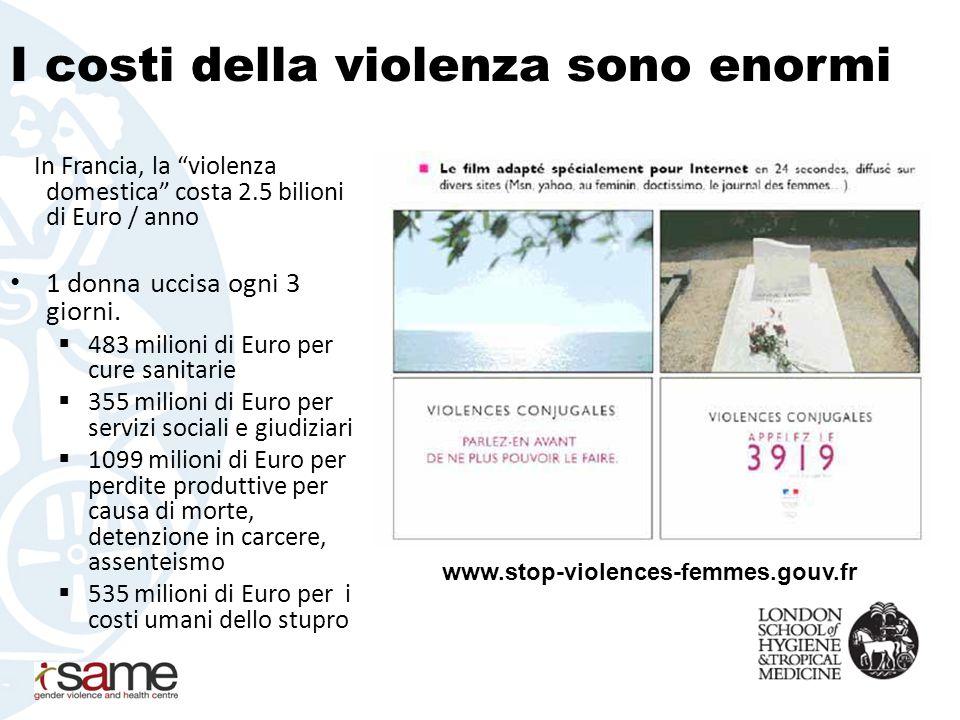 I costi della violenza sono enormi In Francia, la violenza domestica costa 2.5 bilioni di Euro / anno 1 donna uccisa ogni 3 giorni.