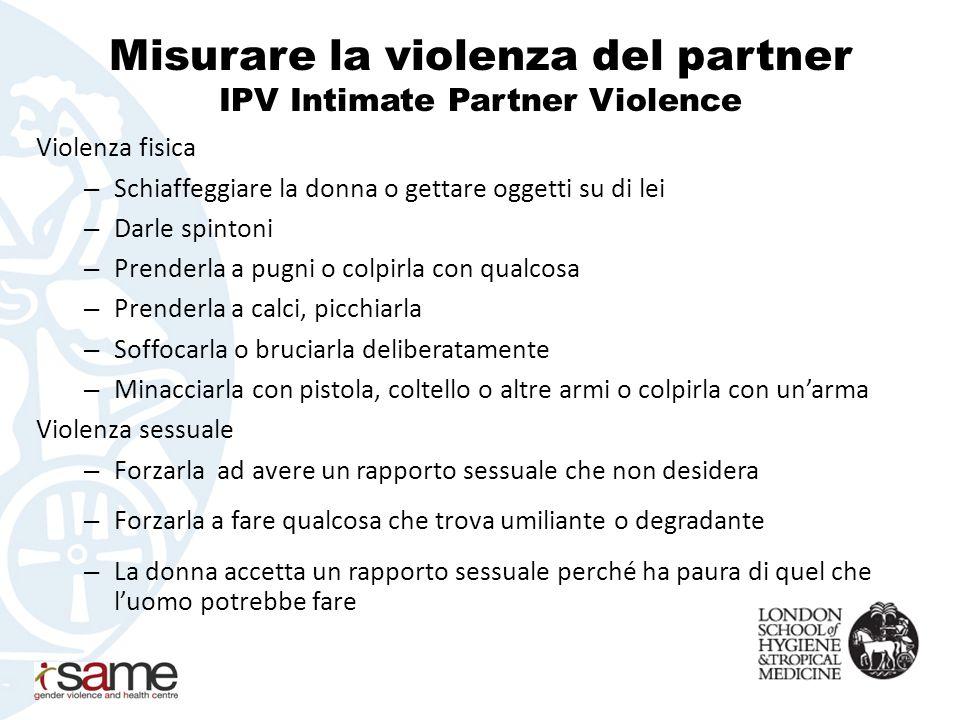 Misurare la violenza del partner IPV Intimate Partner Violence Violenza fisica – Schiaffeggiare la donna o gettare oggetti su di lei – Darle spintoni