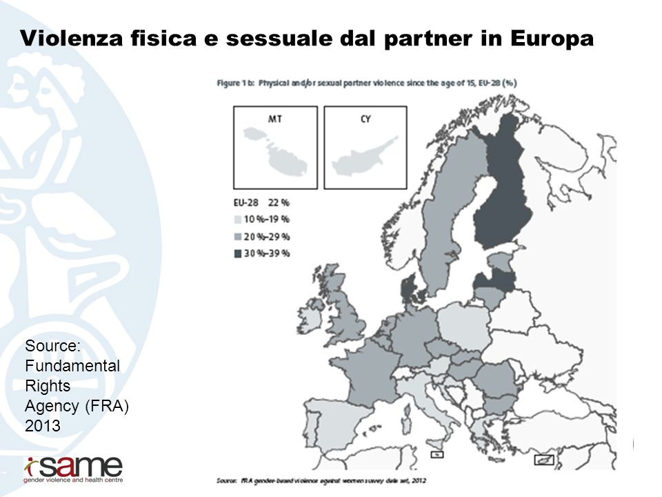 Violenza psicologica dal partner in Europa Source: Fundamental Rights Agency 2013
