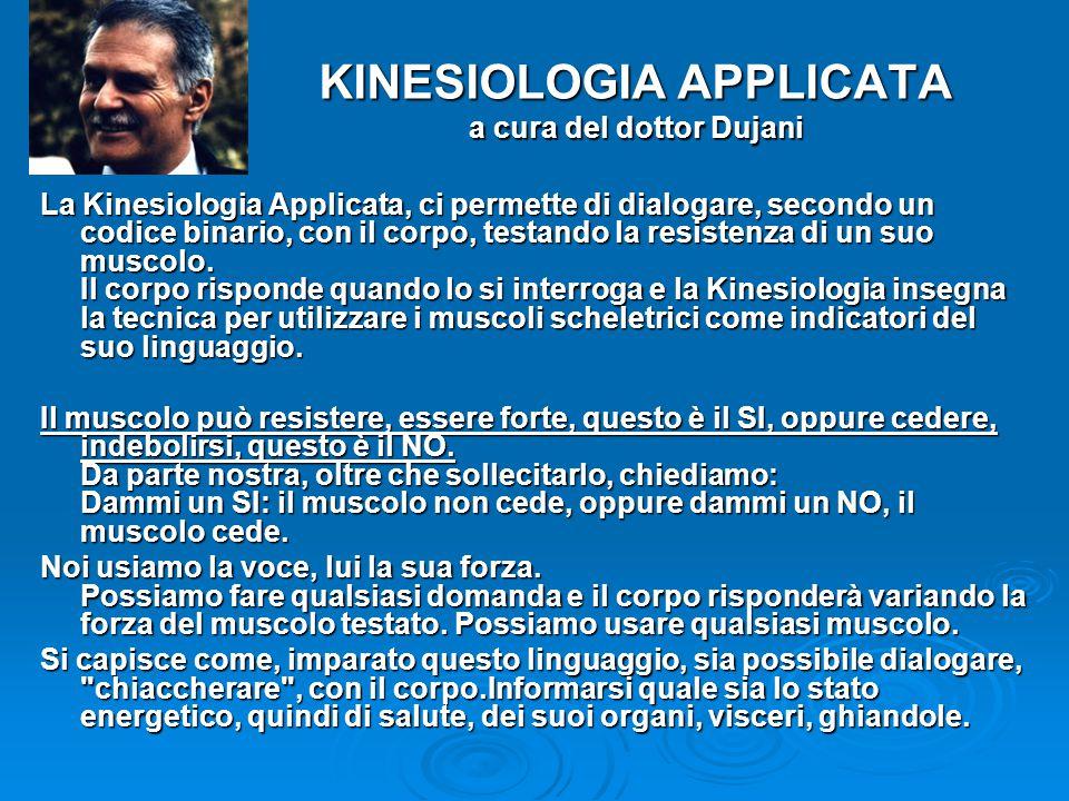 KINESIOLOGIA APPLICATA a cura del dottor Dujani La Kinesiologia Applicata, ci permette di dialogare, secondo un codice binario, con il corpo, testando