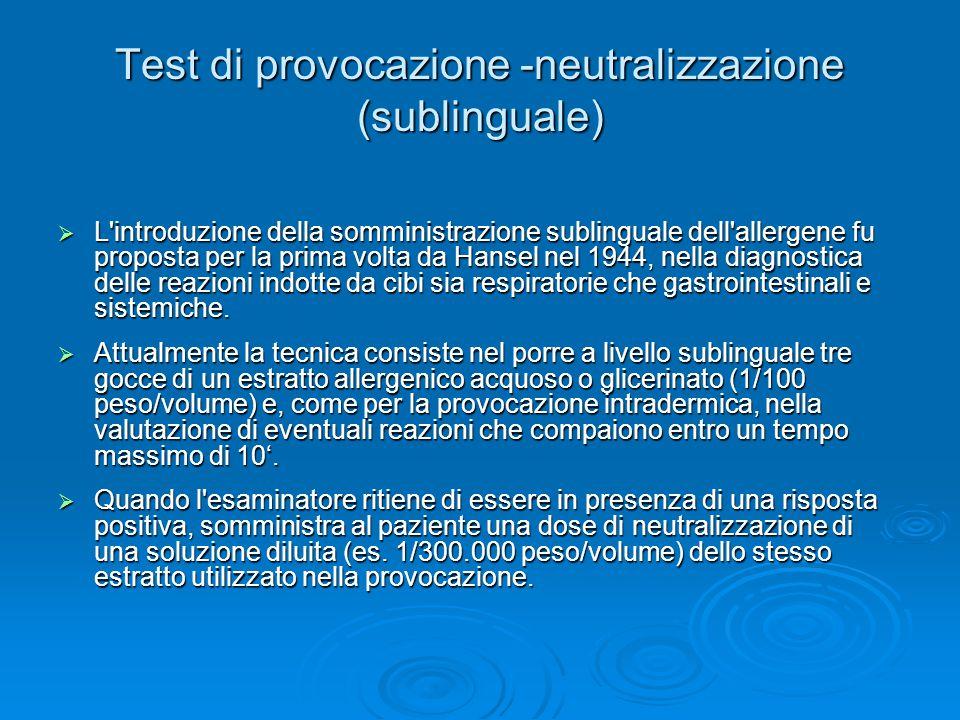 Test di provocazione -neutralizzazione (sublinguale)  L'introduzione della somministrazione sublinguale dell'allergene fu proposta per la prima volta
