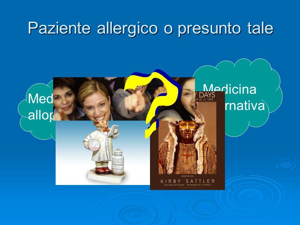 Paziente allergico o presunto tale Medicina allopatica Medicina alternativa
