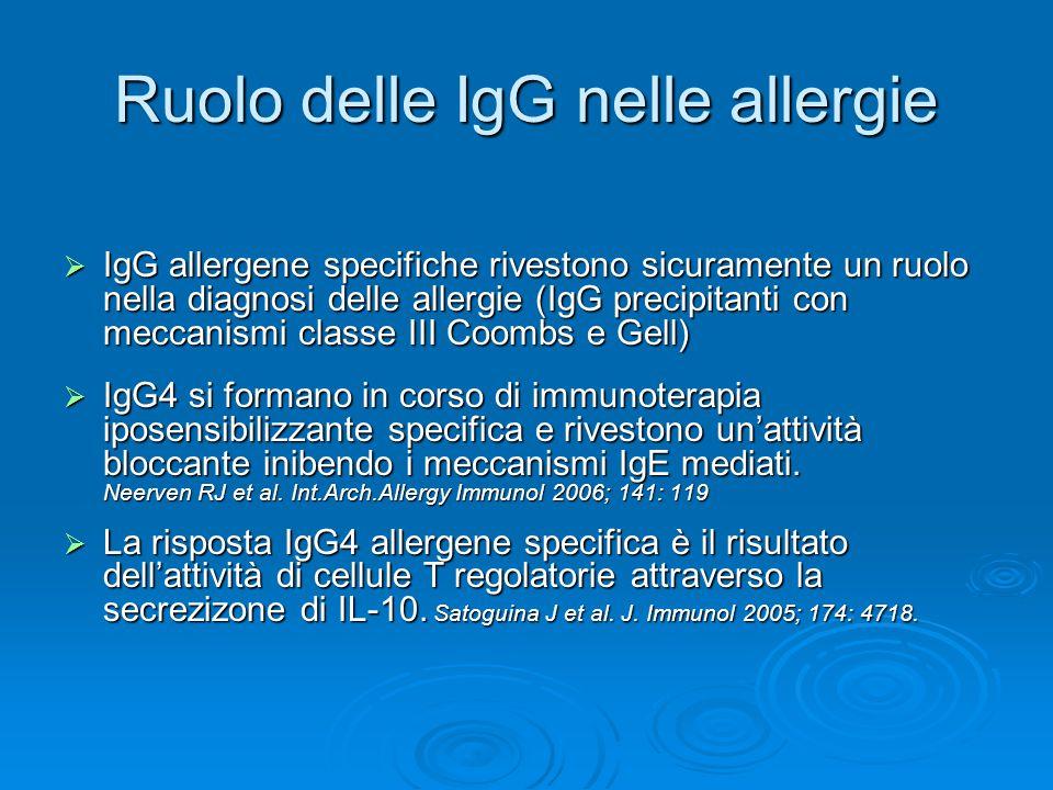 Ruolo delle IgG nelle allergie  IgG allergene specifiche rivestono sicuramente un ruolo nella diagnosi delle allergie (IgG precipitanti con meccanismi classe III Coombs e Gell)  IgG4 si formano in corso di immunoterapia iposensibilizzante specifica e rivestono un'attività bloccante inibendo i meccanismi IgE mediati.