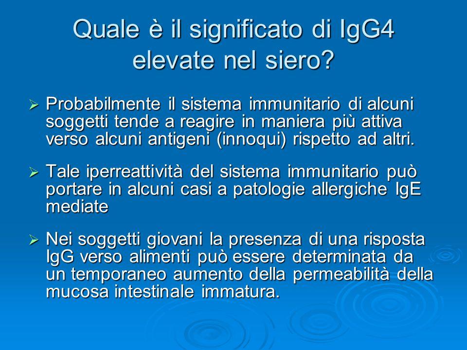 Quale è il significato di IgG4 elevate nel siero?  Probabilmente il sistema immunitario di alcuni soggetti tende a reagire in maniera più attiva vers