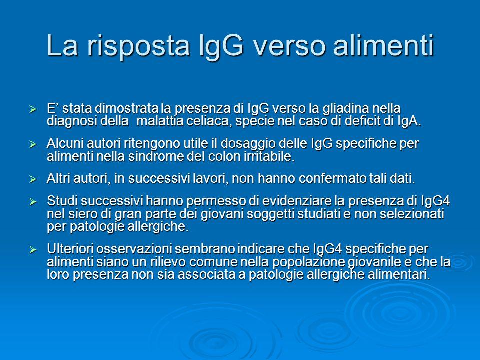 La risposta IgG verso alimenti  E' stata dimostrata la presenza di IgG verso la gliadina nella diagnosi della malattia celiaca, specie nel caso di deficit di IgA.