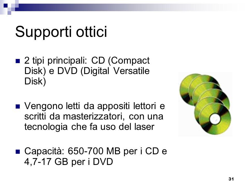 31 Supporti ottici 2 tipi principali: CD (Compact Disk) e DVD (Digital Versatile Disk) Vengono letti da appositi lettori e scritti da masterizzatori,