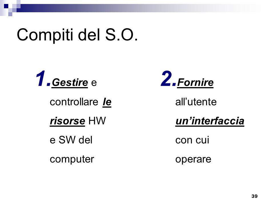 39 Compiti del S.O. 1. Gestire e controllare le risorse HW e SW del computer 2. Fornire all'utente un'interfaccia con cui operare