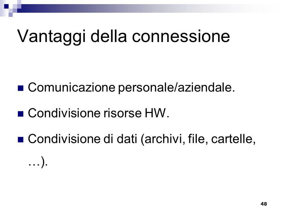 48 Vantaggi della connessione Comunicazione personale/aziendale. Condivisione risorse HW. Condivisione di dati (archivi, file, cartelle, …).