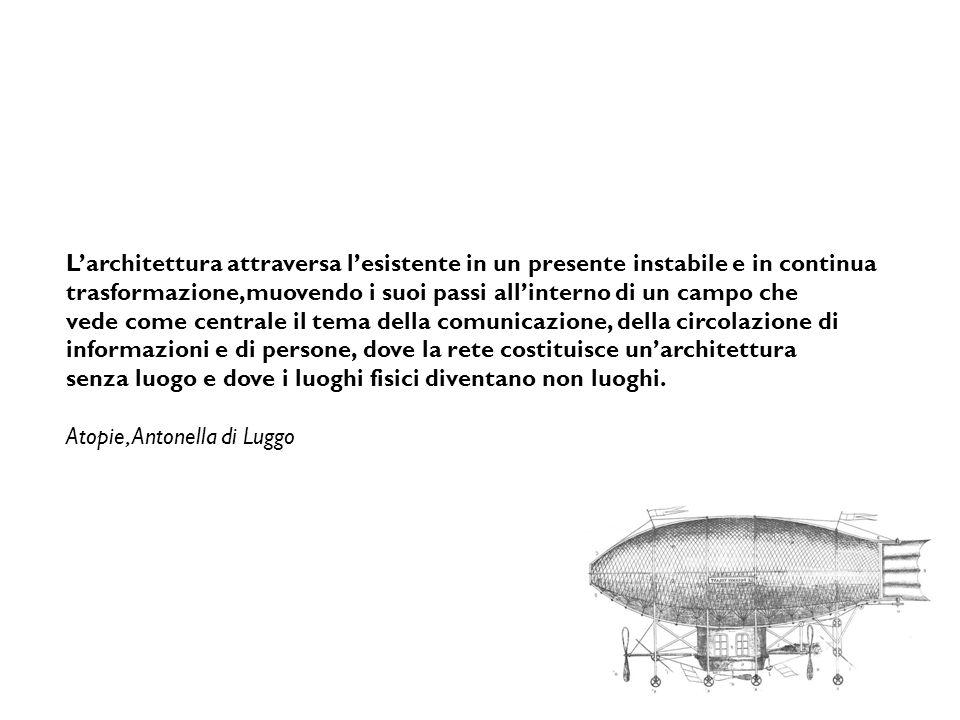 L'architettura attraversa l'esistente in un presente instabile e in continua trasformazione,muovendo i suoi passi all'interno di un campo che vede com