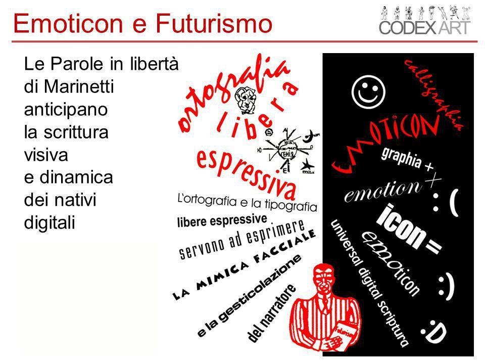Le Parole in libertà di Marinetti anticipano la scrittura visiva e dinamica dei nativi digitali Emoticon e Futurismo