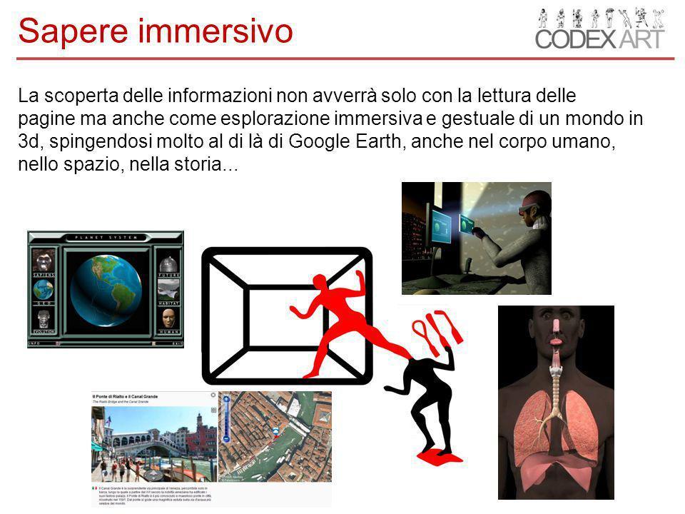 La scoperta delle informazioni non avverrà solo con la lettura delle pagine ma anche come esplorazione immersiva e gestuale di un mondo in 3d, spingendosi molto al di là di Google Earth, anche nel corpo umano, nello spazio, nella storia...