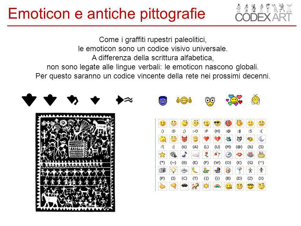 Come i graffiti rupestri paleolitici, le emoticon sono un codice visivo universale.