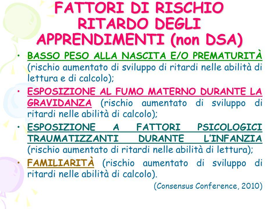 DSA: Disturbi specifici dell'apprendimento Dislessia; Disortografia; Disgrafia; Discalculia.