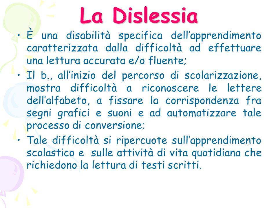 La Dislessia È un disturbo manifestato nell'apprendimento della lettura nonostante istruzione adeguata, in assenza di deficit intellettivi, neurologici o sensoriali e con adeguate condizioni socioculturali (DSM IV).