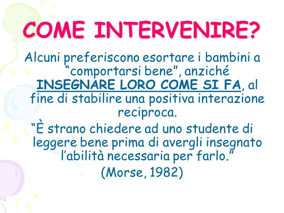 COME INTERVENIRE.