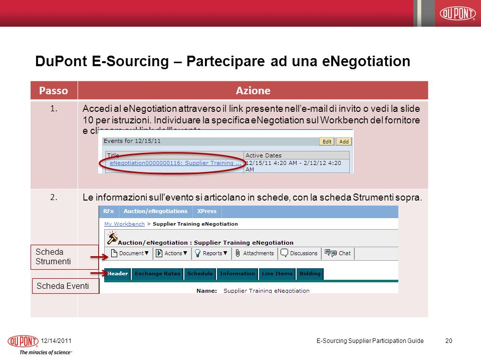 DuPont E-Sourcing – Partecipare ad una eNegotiation 12/14/2011 E-Sourcing Supplier Participation Guide 20 PassoAzione 1.