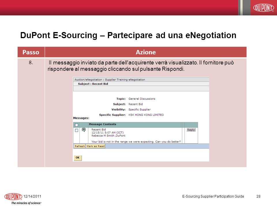 DuPont E-Sourcing – Partecipare ad una eNegotiation 12/14/2011 E-Sourcing Supplier Participation Guide 28 PassoAzione 8.