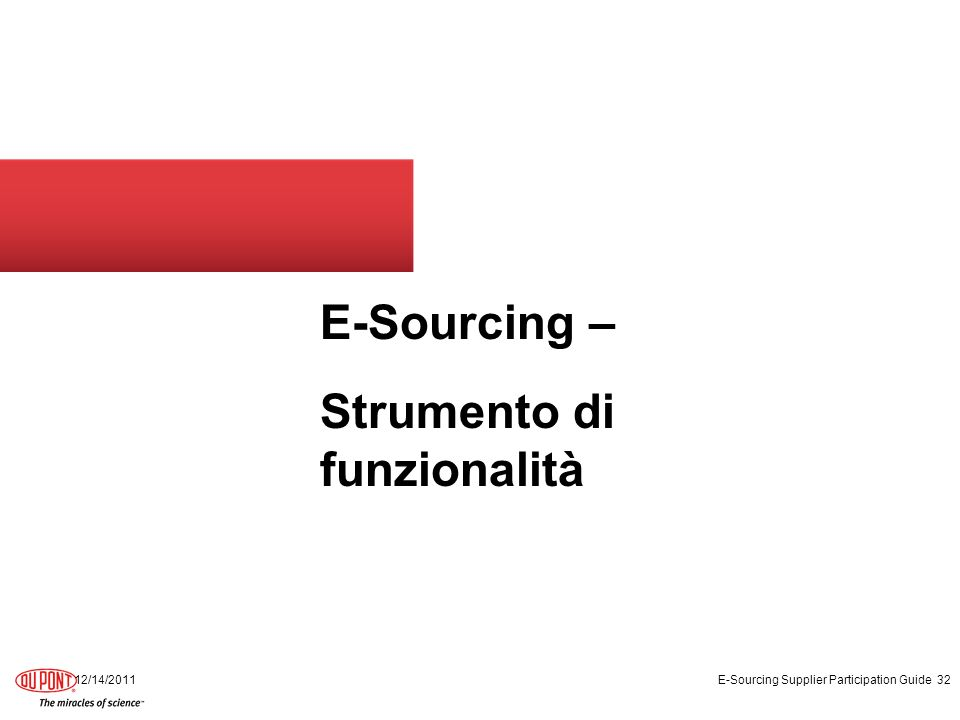 E-Sourcing – Strumento di funzionalità 12/14/2011 E-Sourcing Supplier Participation Guide 32