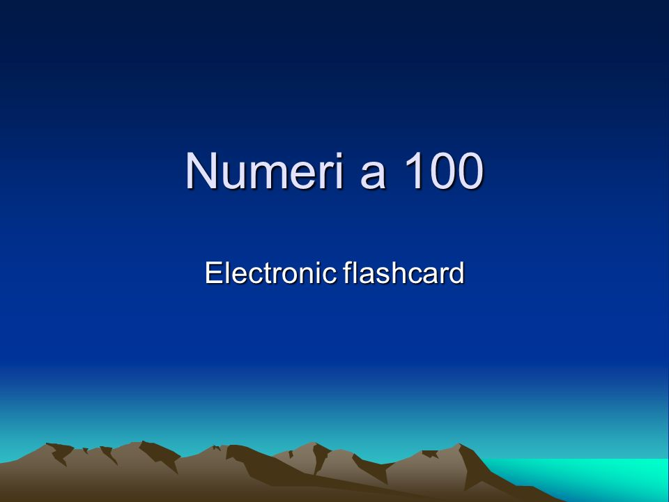 Numeri a 100 Electronic flashcard