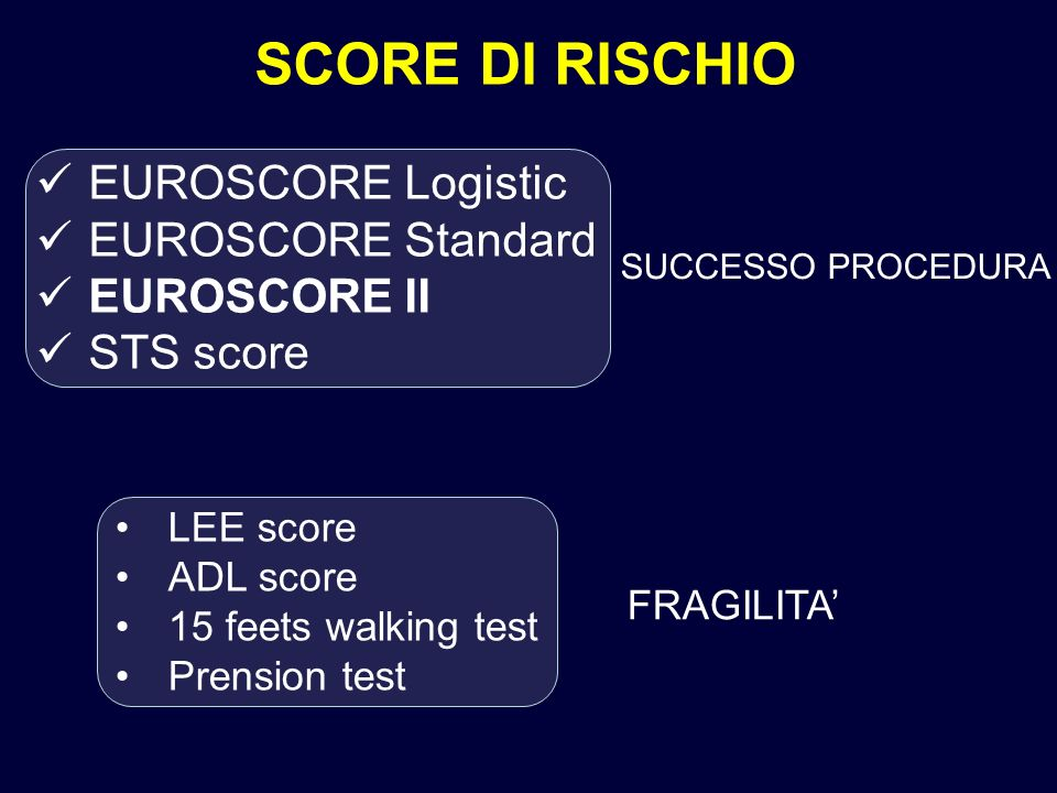 EUROSCORE Logistic EUROSCORE Standard EUROSCORE II STS score SCORE DI RISCHIO FRAGILITA SUCCESSO PROCEDURA LEE score ADL score 15 feets walking test Prension test