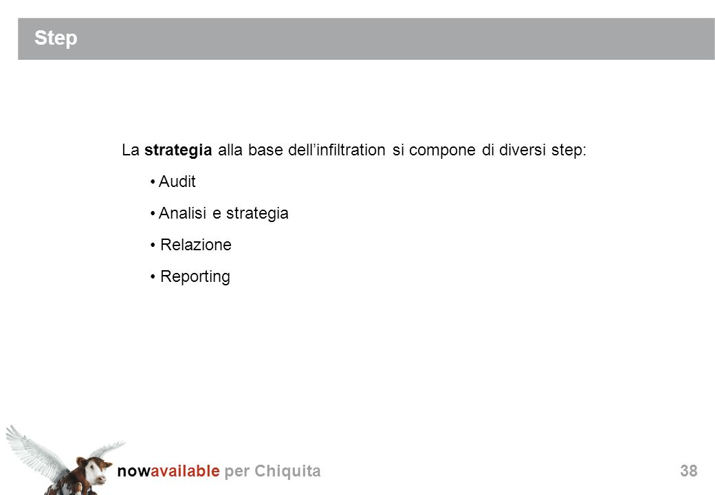 nowavailable per Chiquita38 Step La strategia alla base dellinfiltration si compone di diversi step: Audit Analisi e strategia Relazione Reporting