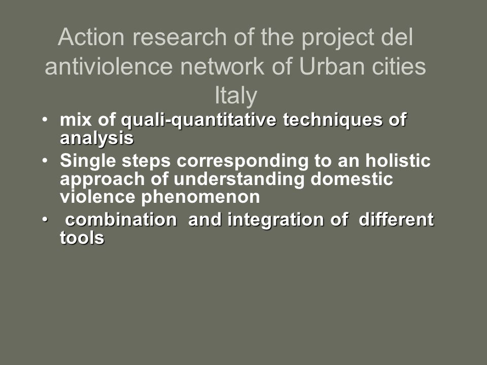 Action research of the project del antiviolence network of Urban cities Italy quali-quantitative techniques of analysismix of quali-quantitative techniques of analysis Single steps corresponding to an holistic approach of understanding domestic violence phenomenon combination and integration of different tools combination and integration of different tools