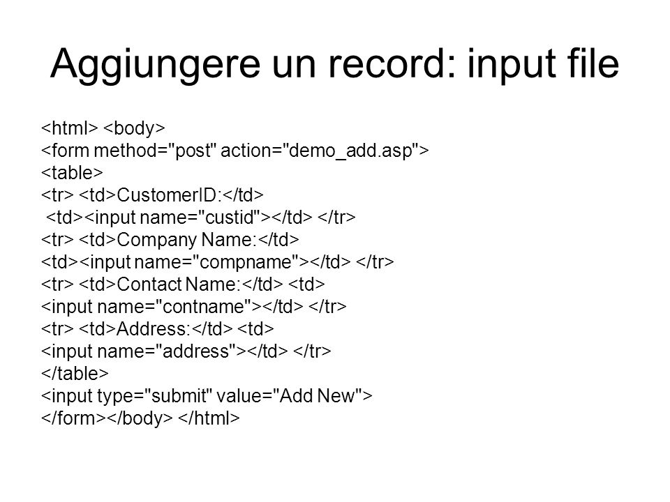 Aggiungere un record: input file CustomerID: Company Name: Contact Name: Address: