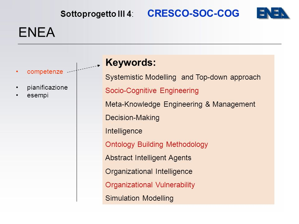 Sottoprogetto III 4: CRESCO-SOC-COG competenze pianificazione esempi ENEA Keywords: Systemistic Modelling and Top-down approach Socio-Cognitive Engineering Meta-Knowledge Engineering & Management Decision-Making Intelligence Ontology Building Methodology Abstract Intelligent Agents Organizational Intelligence Organizational Vulnerability Simulation Modelling
