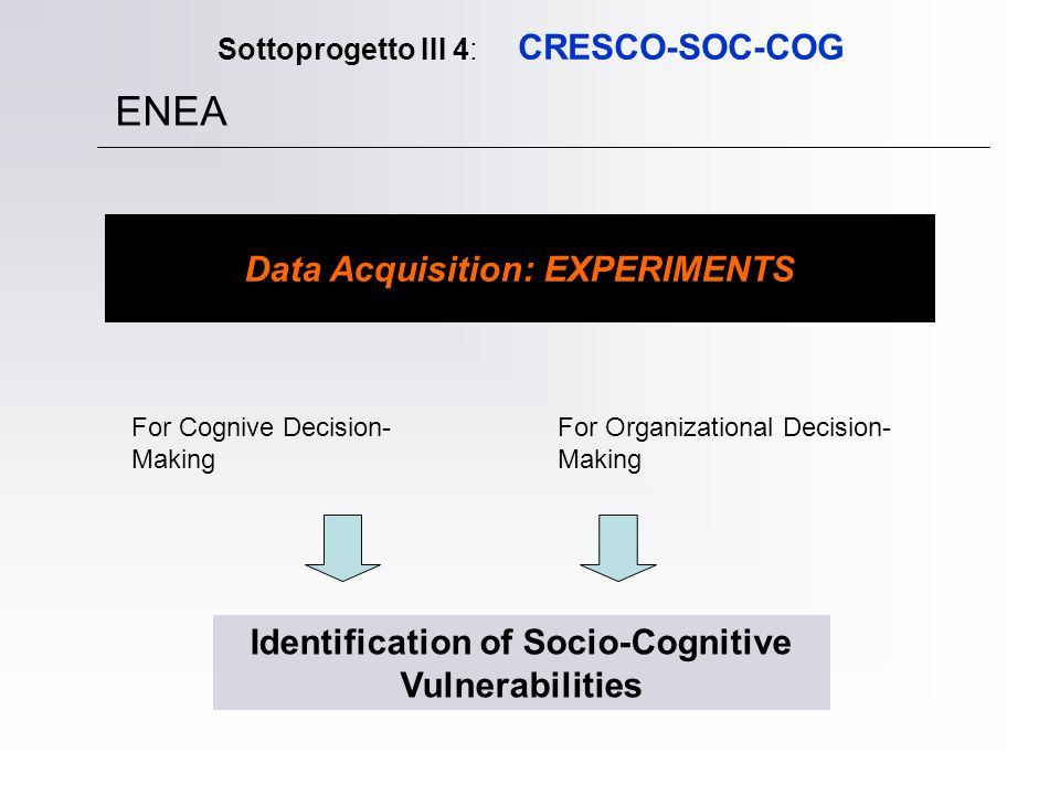 Sottoprogetto III 4: CRESCO-SOC-COG ENEA Data Acquisition: EXPERIMENTS For Cognive Decision- Making For Organizational Decision- Making Identification of Socio-Cognitive Vulnerabilities
