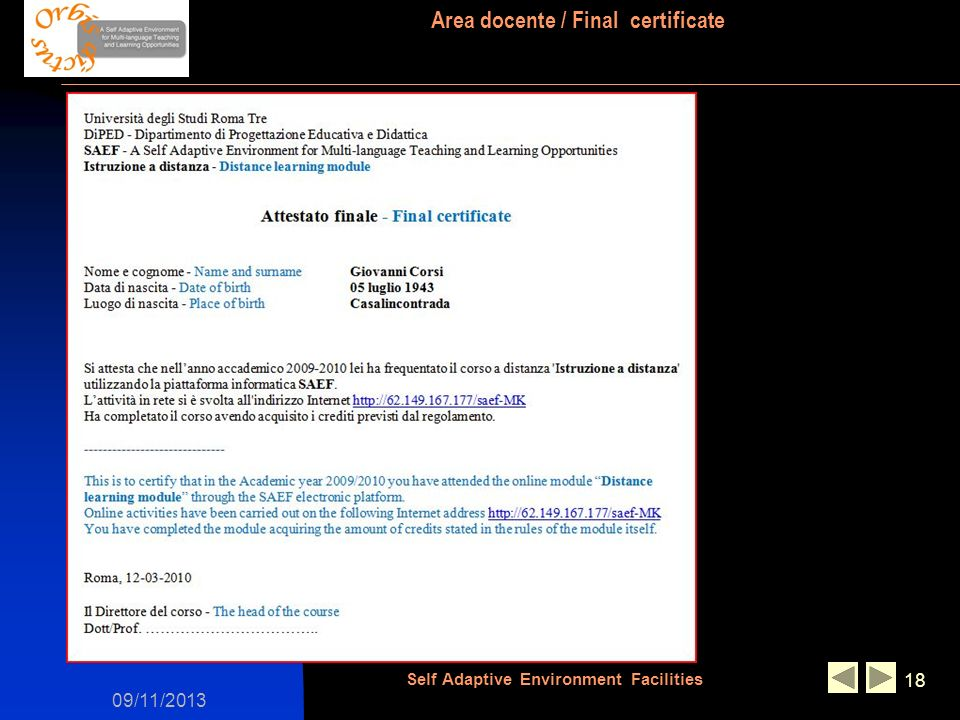 09/11/2013 Self Adaptive Environment Facilities 18 Area docente / Final certificate