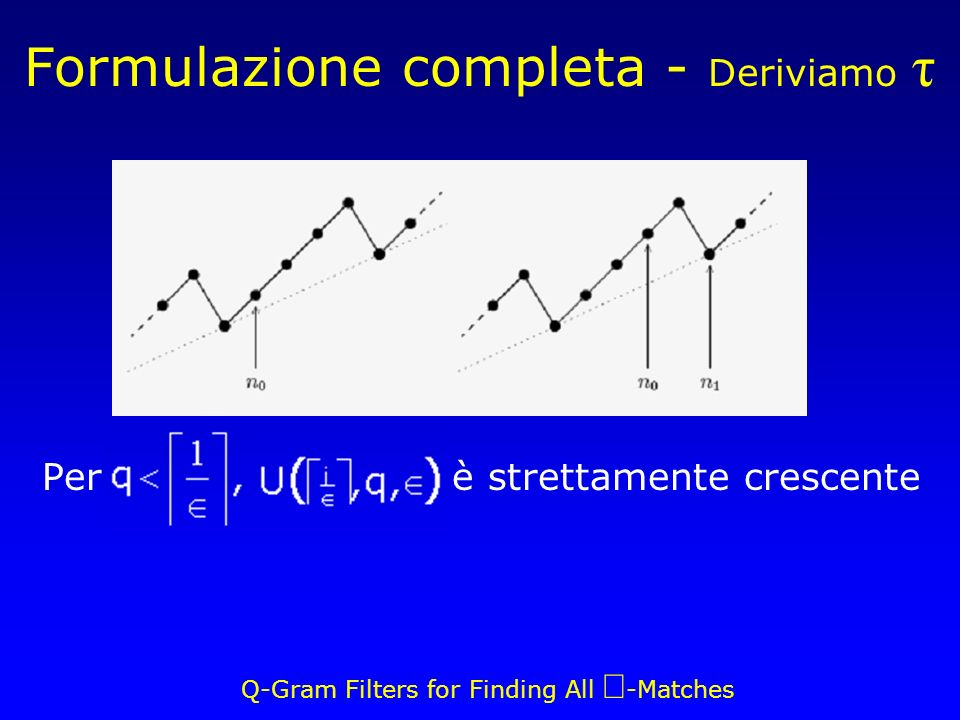 Q-Gram Filters for Finding All -Matches Per, è strettamente crescente Formulazione completa - Deriviamo τ