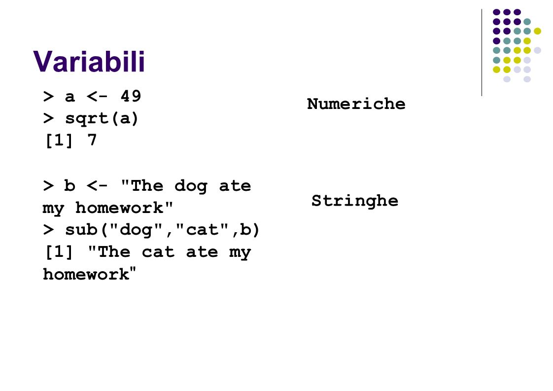 Variabili > a <- 49 > sqrt(a) [1] 7 > b <- The dog ate my homework > sub( dog , cat ,b) [1] The cat ate my homework Numeriche Stringhe