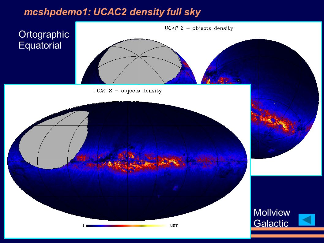 mcshpdemo1: UCAC2 density full sky Ortographic Equatorial Mollview Galactic