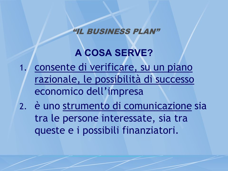 IL BUSINESS PLAN A COSA SERVE. 1.