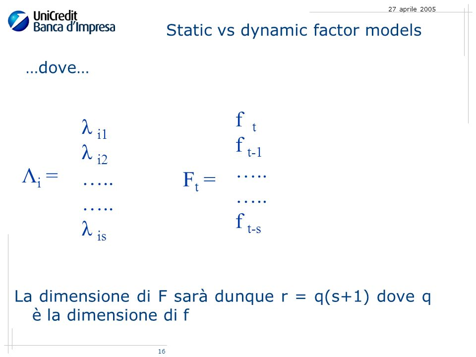 16 27 aprile 2005 Static vs dynamic factor models …dove… Λ i = λ i1 λ i2 …..