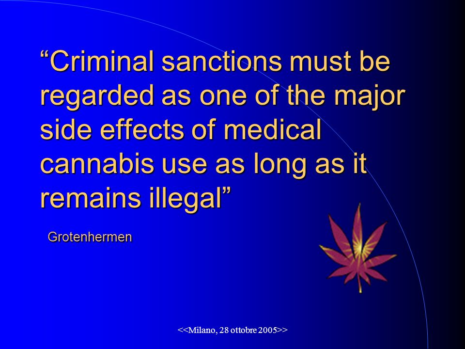 > Criminal sanctions must be regarded as one of the major side effects of medical cannabis use as long as it remains illegal Grotenhermen