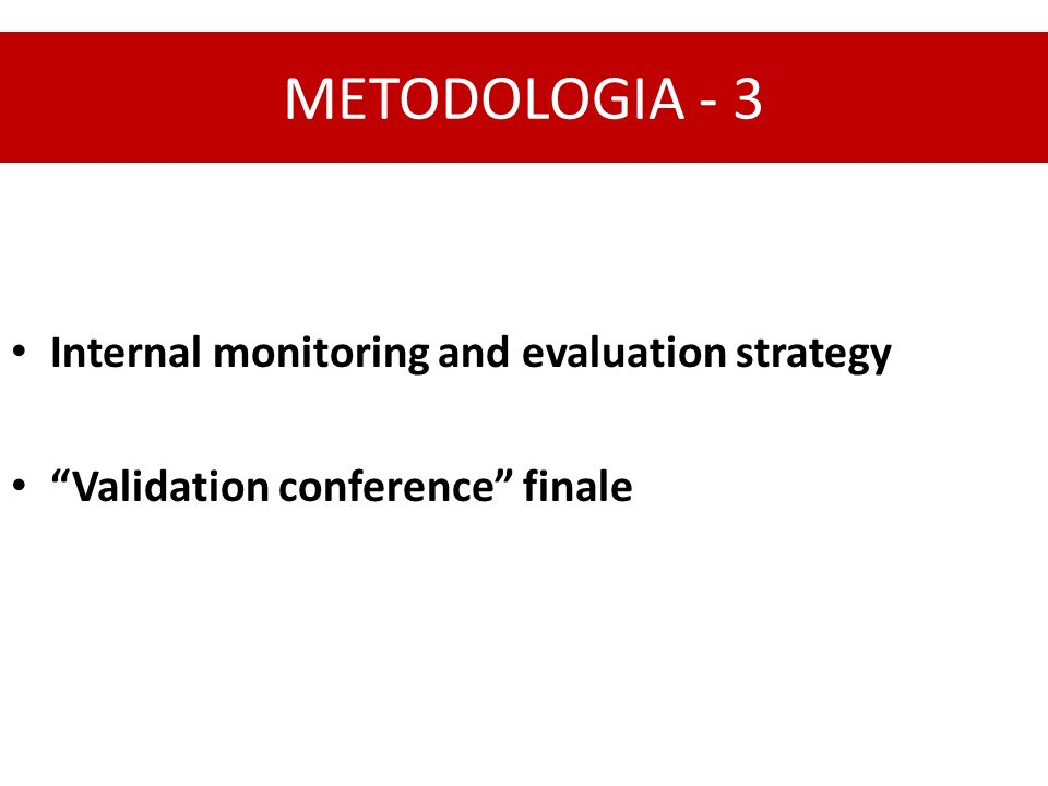 METODOLOGIA - 3 Internal monitoring and evaluation strategy Validation conference finale