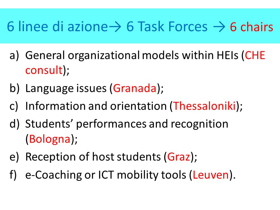6 linee di azione 6 Task Forces 6 chairs a)General organizational models within HEIs (CHE consult); b)Language issues (Granada); c)Information and orientation (Thessaloniki); d)Students performances and recognition (Bologna); e)Reception of host students (Graz); f)e-Coaching or ICT mobility tools (Leuven).