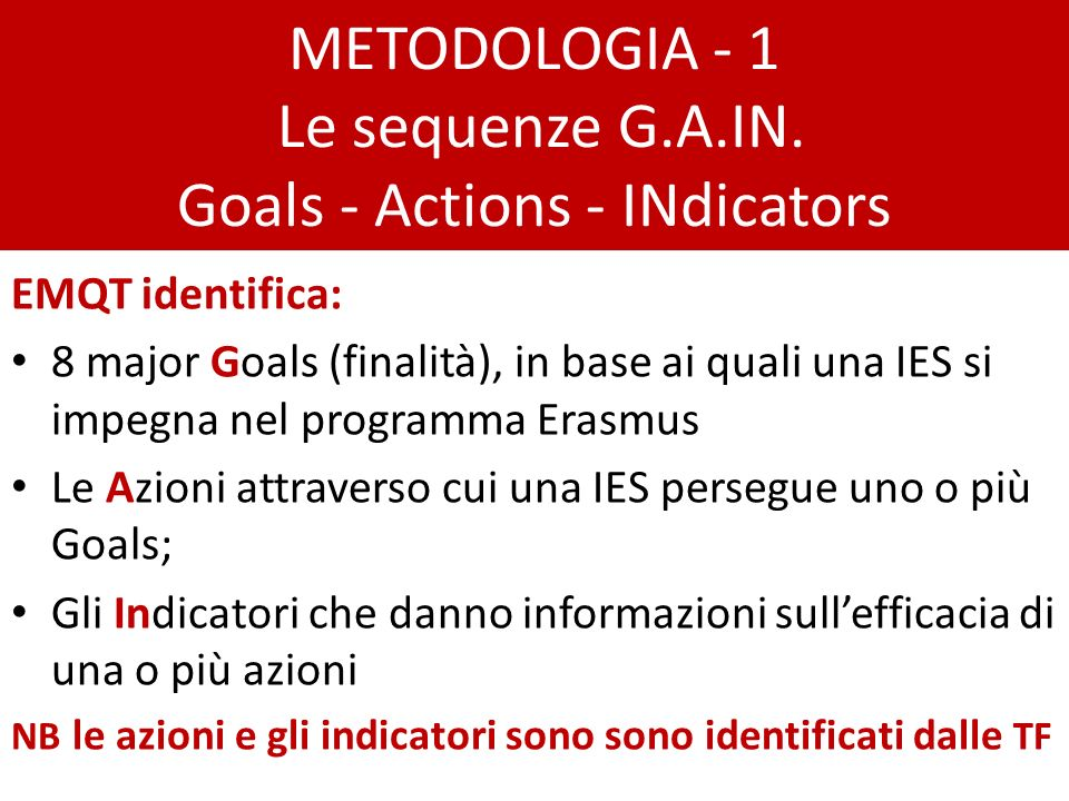 METODOLOGIA - 1 Le sequenze G.A.IN.
