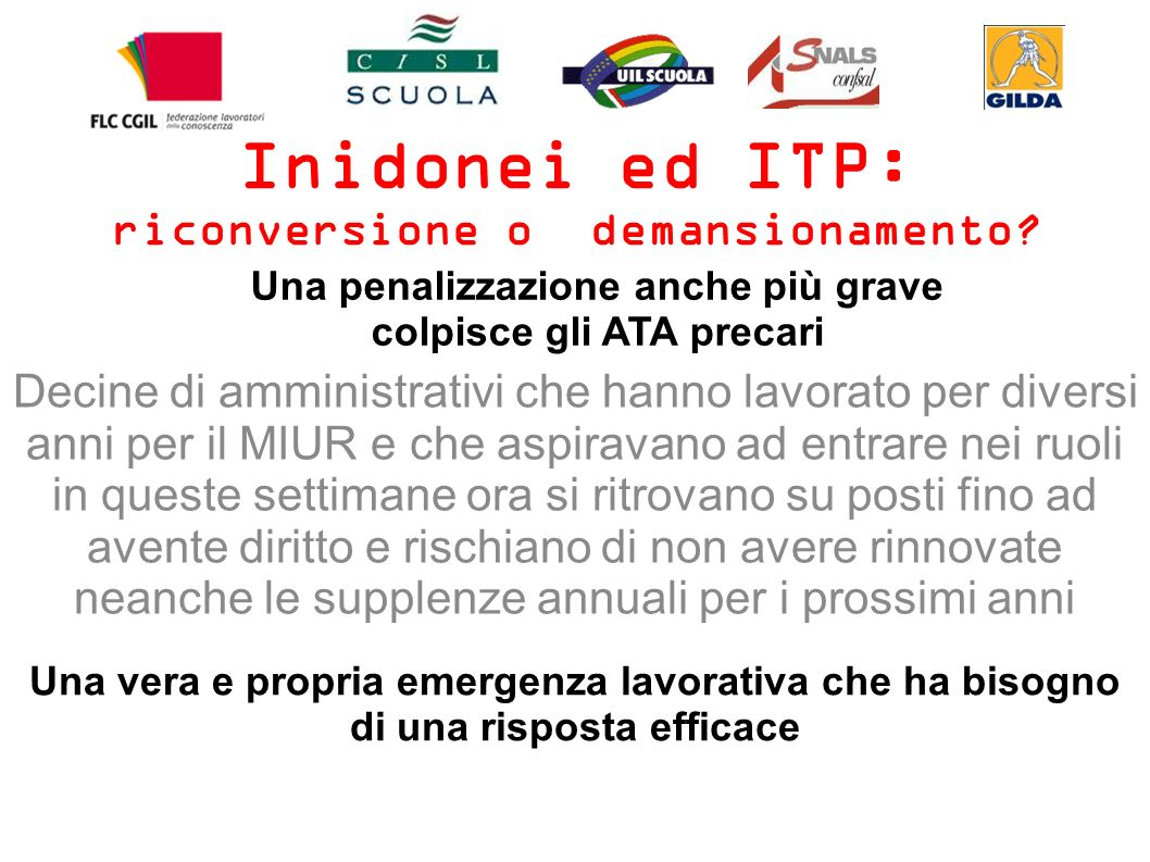 Inidonei ed ITP: riconversione o demansionamento.