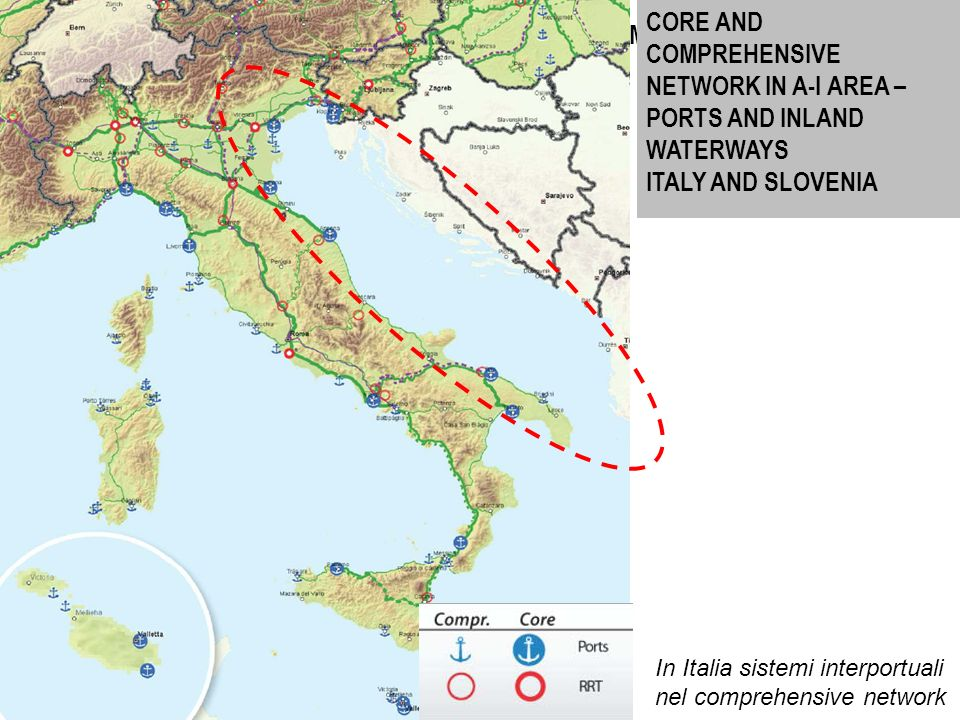 34 CORE AND COMPREHENSIVE NETWORK IN A-I AREA – PORTS AND INLAND WATERWAYS GREECE Source: UE In Grecia porti minori nel comprehensive network