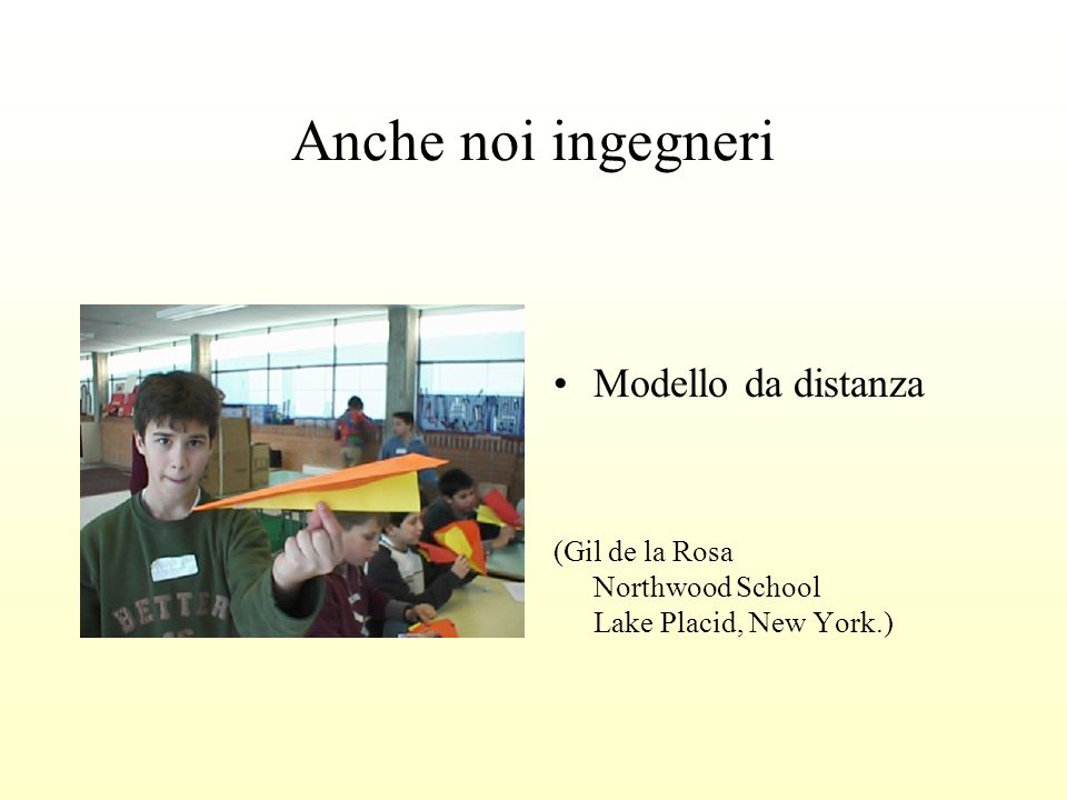 Anche noi ingegneri Modello da distanza (Gil de la Rosa Northwood School Lake Placid, New York.)