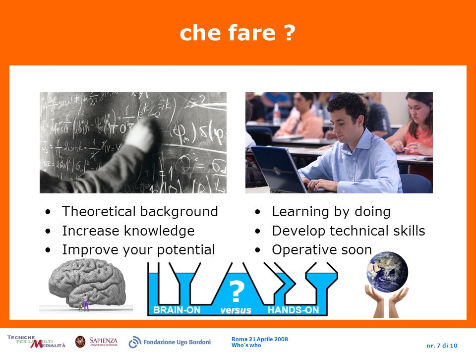Roma 21 Aprile 2008 Whos who nr. 7 di 10 . versus BRAIN-ON versus HANDS-ON che fare .