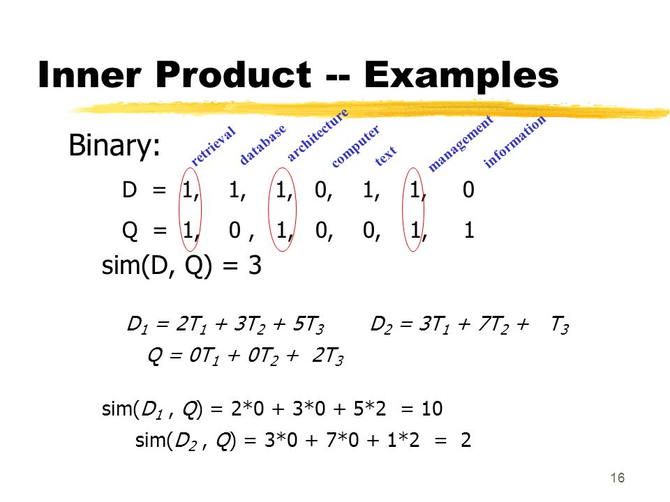 16 Inner Product -- Examples Binary: D = 1, 1, 1, 0, 1, 1, 0 Q = 1, 0, 1, 0, 0, 1, 1 sim(D, Q) = 3 retrieval database architecture computer text management information D 1 = 2T 1 + 3T 2 + 5T 3 D 2 = 3T 1 + 7T 2 + T 3 Q = 0T 1 + 0T 2 + 2T 3 sim(D 1, Q) = 2*0 + 3*0 + 5*2 = 10 sim(D 2, Q) = 3*0 + 7*0 + 1*2 = 2