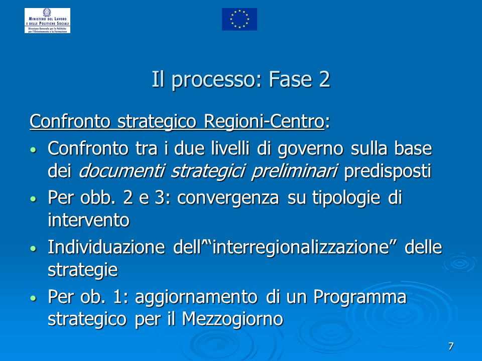 7 Il processo: Fase 2 Confronto strategico Regioni-Centro: Confronto tra i due livelli di governo sulla base dei documenti strategici preliminari predisposti Confronto tra i due livelli di governo sulla base dei documenti strategici preliminari predisposti Per obb.