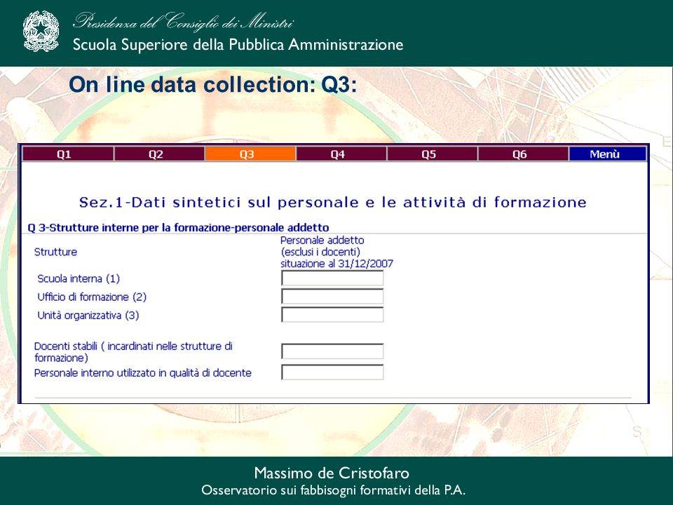On line data collection: Q3: