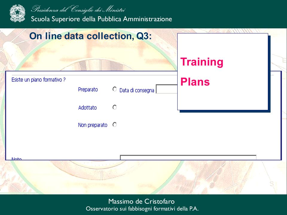 On line data collection, Q3: Training Plans Training Plans