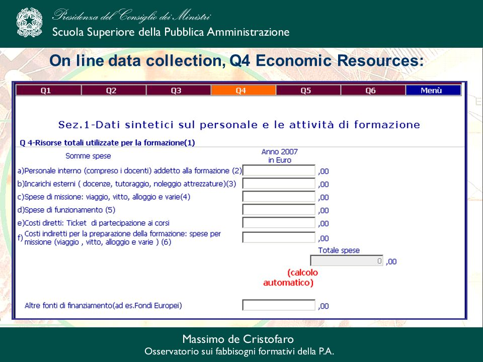On line data collection, Q4 Economic Resources: