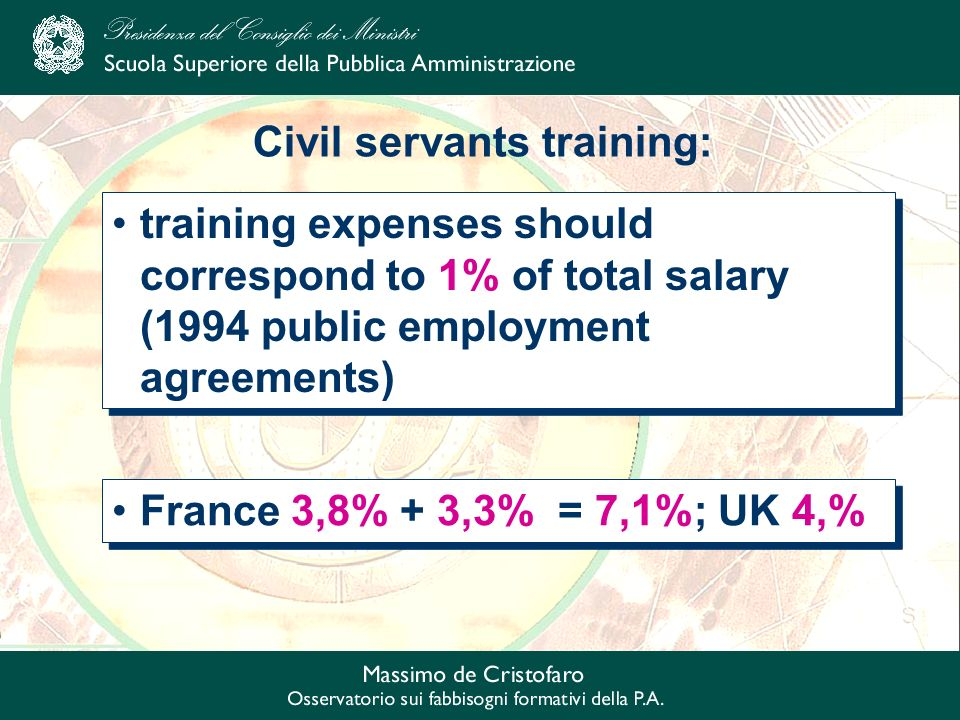 Civil servants training: France 3,8% + 3,3% = 7,1%; UK 4,% training expenses should correspond to 1% of total salary (1994 public employment agreements)